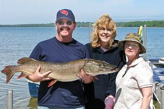 "44"" 20# Pike caught on Muskallonge Lake, MI Upper Peninsula"